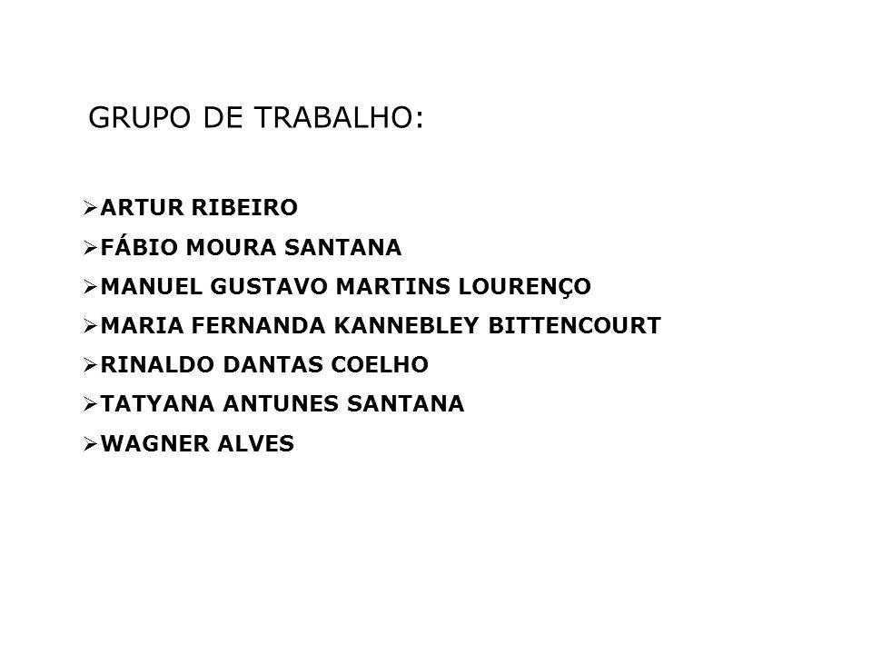 GRUPO DE TRABALHO: ARTUR RIBEIRO FÁBIO MOURA SANTANA MANUEL GUSTAVO MARTINS LOURENÇO MARIA FERNANDA KANNEBLEY BITTENCOURT RINALDO DANTAS COELHO TATYANA ANTUNES SANTANA WAGNER ALVES