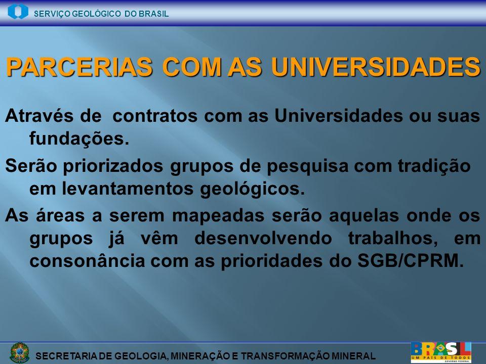SECRETARIA DE GEOLOGIA, MINERAÇÃO E TRANSFORMAÇÃO MINERAL SERVIÇO GEOLÓGICO DO BRASIL Através de contratos com as Universidades ou suas fundações. Ser