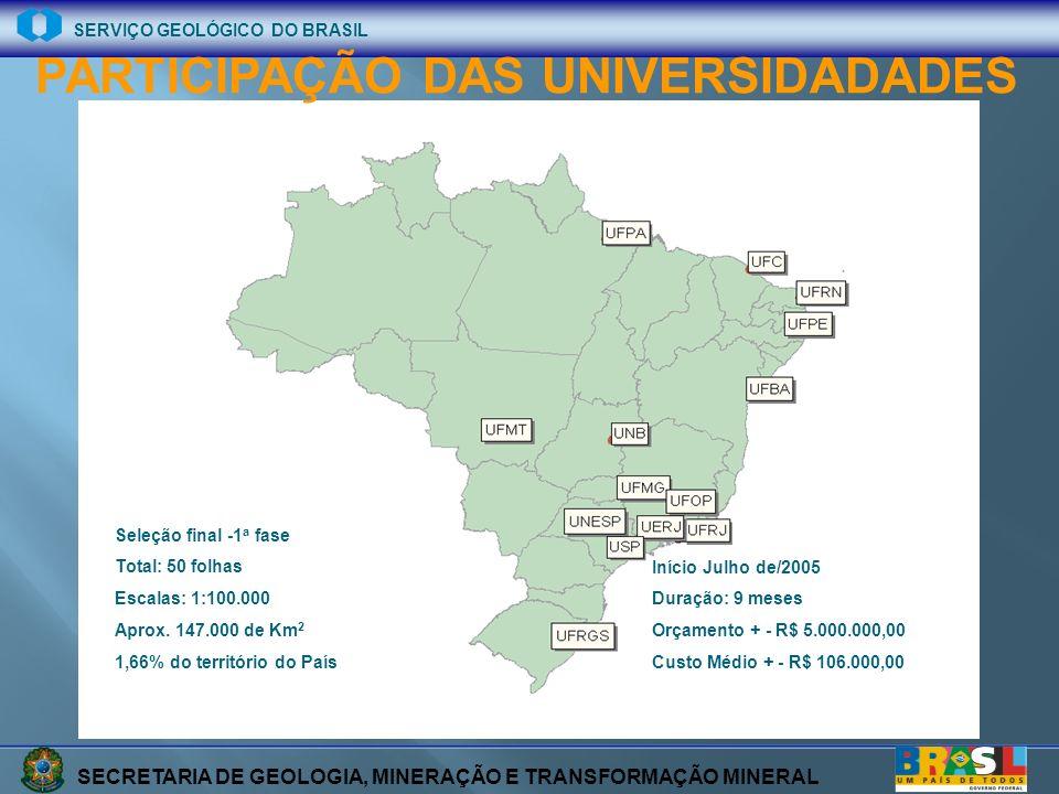 SECRETARIA DE GEOLOGIA, MINERAÇÃO E TRANSFORMAÇÃO MINERAL SERVIÇO GEOLÓGICO DO BRASIL Início Julho de/2005 Duração: 9 meses Orçamento + - R$ 5.000.000