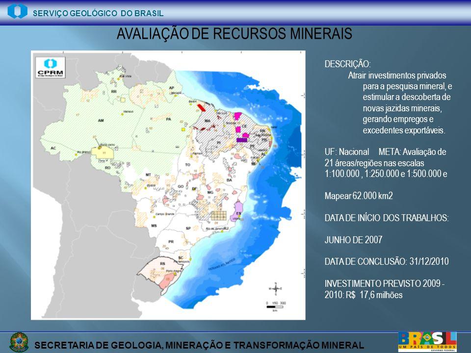 SECRETARIA DE GEOLOGIA, MINERAÇÃO E TRANSFORMAÇÃO MINERAL SERVIÇO GEOLÓGICO DO BRASIL AVALIAÇÃO DE RECURSOS MINERAIS DESCRIÇÃO: Atrair investimentos p