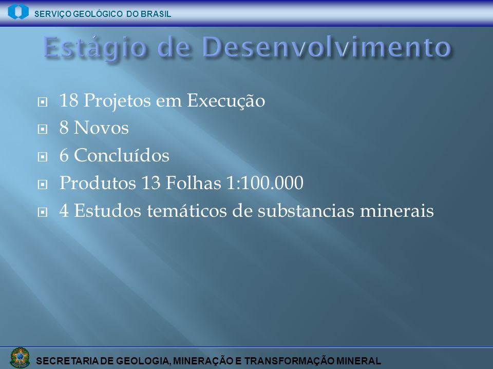 SECRETARIA DE GEOLOGIA, MINERAÇÃO E TRANSFORMAÇÃO MINERAL SERVIÇO GEOLÓGICO DO BRASIL 18 Projetos em Execução 8 Novos 6 Concluídos Produtos 13 Folhas