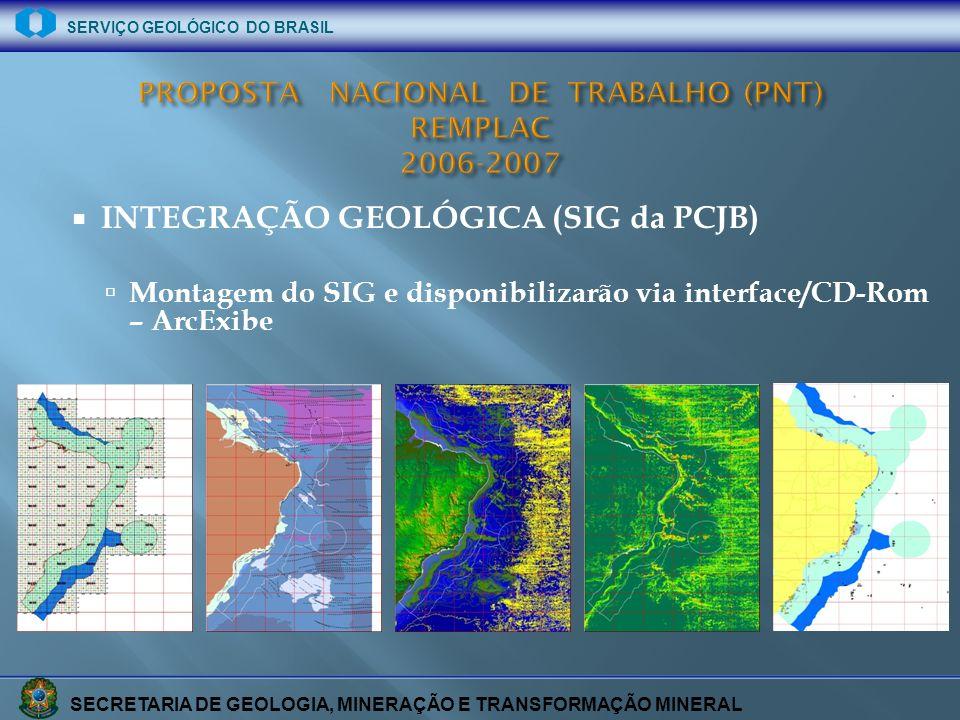 SECRETARIA DE GEOLOGIA, MINERAÇÃO E TRANSFORMAÇÃO MINERAL SERVIÇO GEOLÓGICO DO BRASIL INTEGRAÇÃO GEOLÓGICA (SIG da PCJB) Montagem do SIG e disponibili