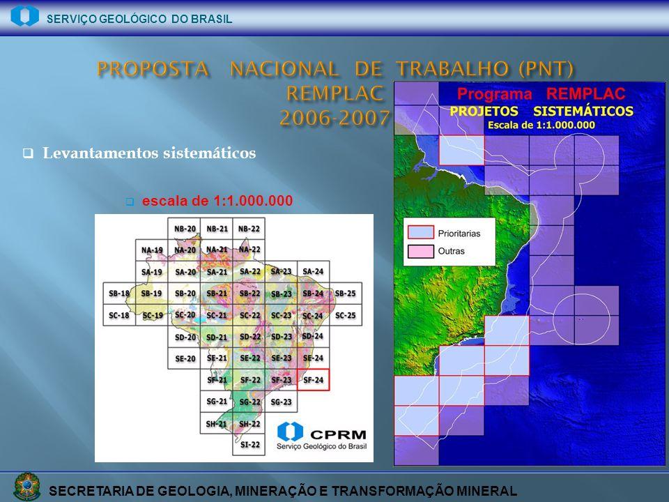 SECRETARIA DE GEOLOGIA, MINERAÇÃO E TRANSFORMAÇÃO MINERAL SERVIÇO GEOLÓGICO DO BRASIL Levantamentos sistemáticos escala de 1:1.000.000