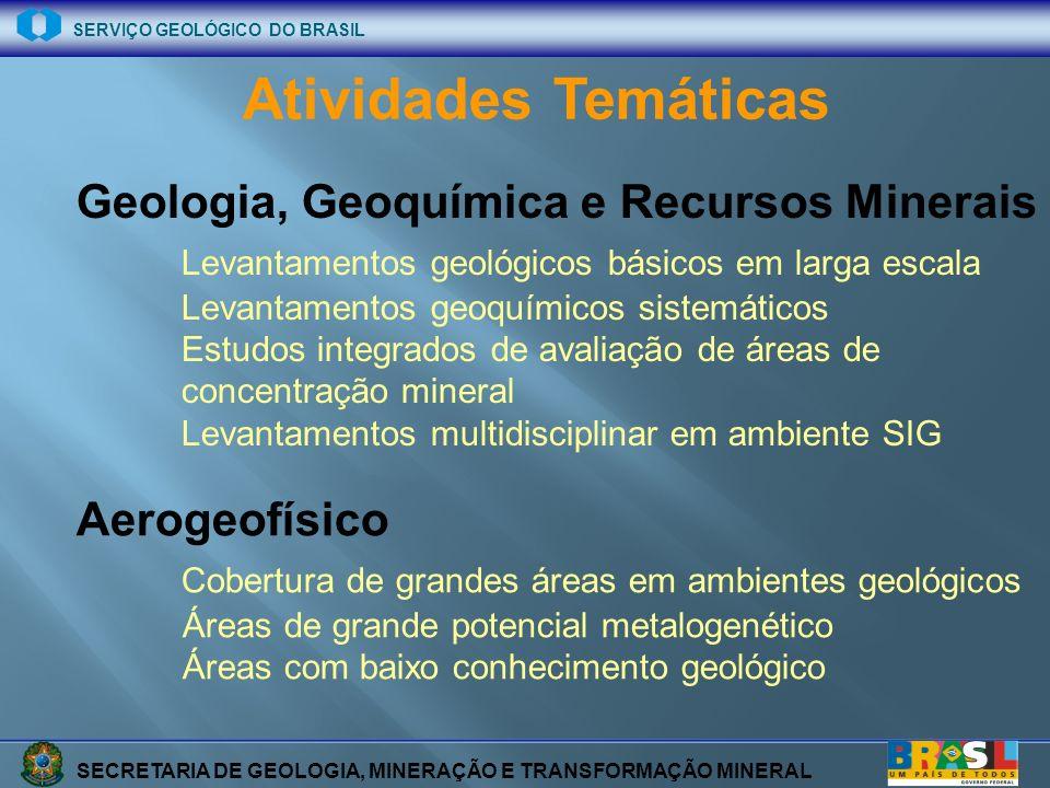 SECRETARIA DE GEOLOGIA, MINERAÇÃO E TRANSFORMAÇÃO MINERAL SERVIÇO GEOLÓGICO DO BRASIL TOTAL DE FOLHAS % DO TERRITÓRIO FOLHAS 1:100.000 80 2, 8 UNIVERSIDADES (1:100.000) 49 1, 7 TOTAL 1:100.00 129 4, 5 FOLHAS 1:250.000 22 4, 7 TOTAL GERAL 9,2 % DO TERTITÓRIO BRASILEIRO