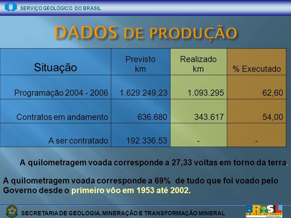 SECRETARIA DE GEOLOGIA, MINERAÇÃO E TRANSFORMAÇÃO MINERAL SERVIÇO GEOLÓGICO DO BRASIL Situação Previsto km Realizado km% Executado Programação 2004 -