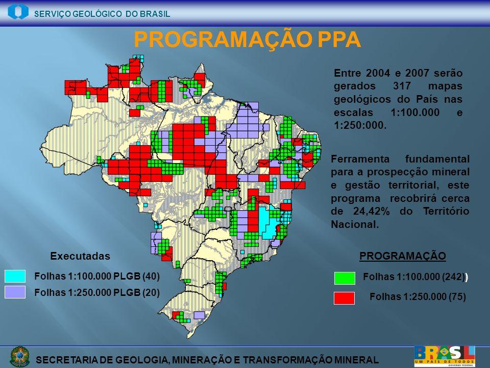 SECRETARIA DE GEOLOGIA, MINERAÇÃO E TRANSFORMAÇÃO MINERAL SERVIÇO GEOLÓGICO DO BRASIL METAS (2004 – 2007) 75% na escala 1:100.000 25% na escala 1:250.000 Resumo 2004-2007 EscalaFolhasKm 2 % TerritórioR$ 1:100.000242726.0008,5494.380.000 1:250.000751.350.00015,8843.500.000 Total3172.076.00024,42137.880.000