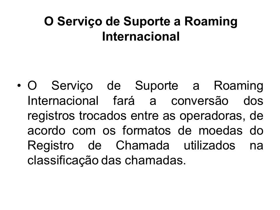 O Serviço de Suporte a Roaming Internacional O Serviço de Suporte a Roaming Internacional fará a conversão dos registros trocados entre as operadoras,