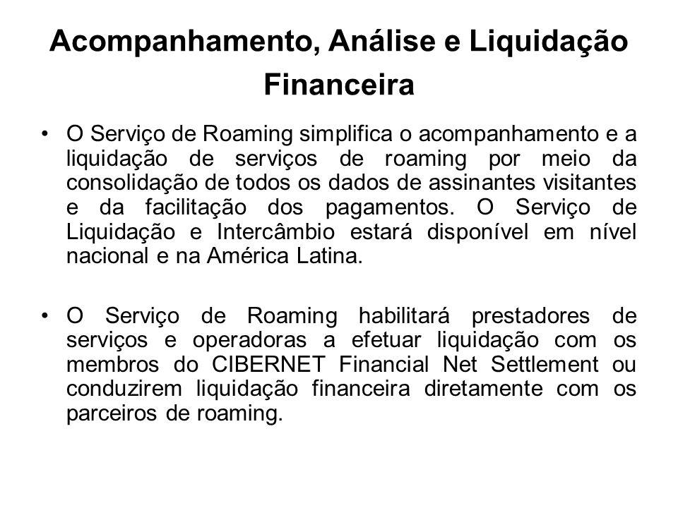 Acompanhamento, Análise e Liquidação Financeira O Serviço de Roaming simplifica o acompanhamento e a liquidação de serviços de roaming por meio da con