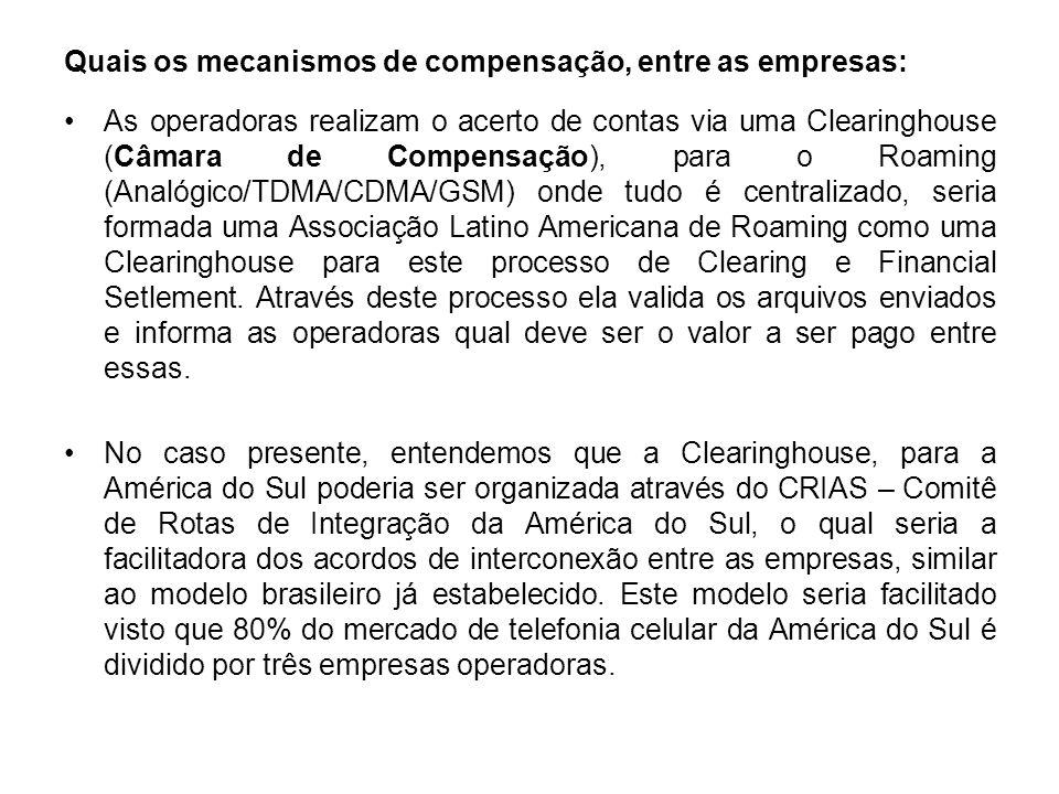 Quais os mecanismos de compensação, entre as empresas: As operadoras realizam o acerto de contas via uma Clearinghouse (Câmara de Compensação), para o