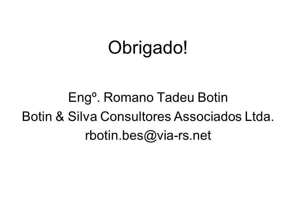 Obrigado! Engº. Romano Tadeu Botin Botin & Silva Consultores Associados Ltda. rbotin.bes@via-rs.net