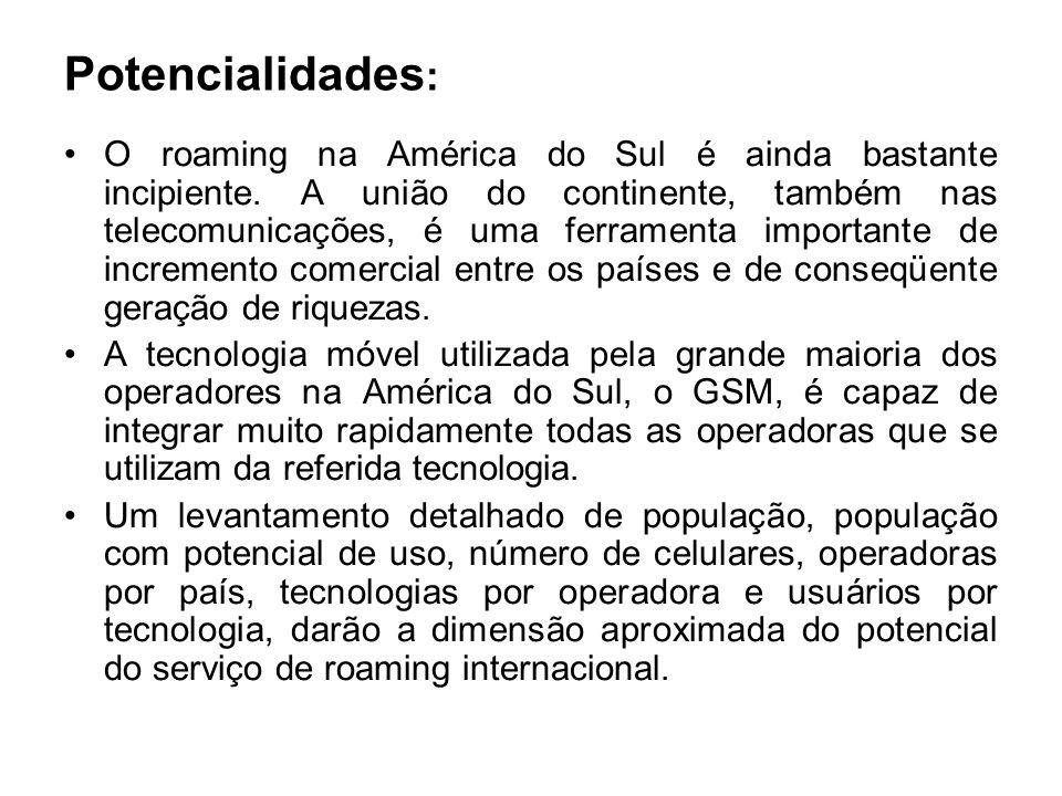 Potencialidades : O roaming na América do Sul é ainda bastante incipiente. A união do continente, também nas telecomunicações, é uma ferramenta import