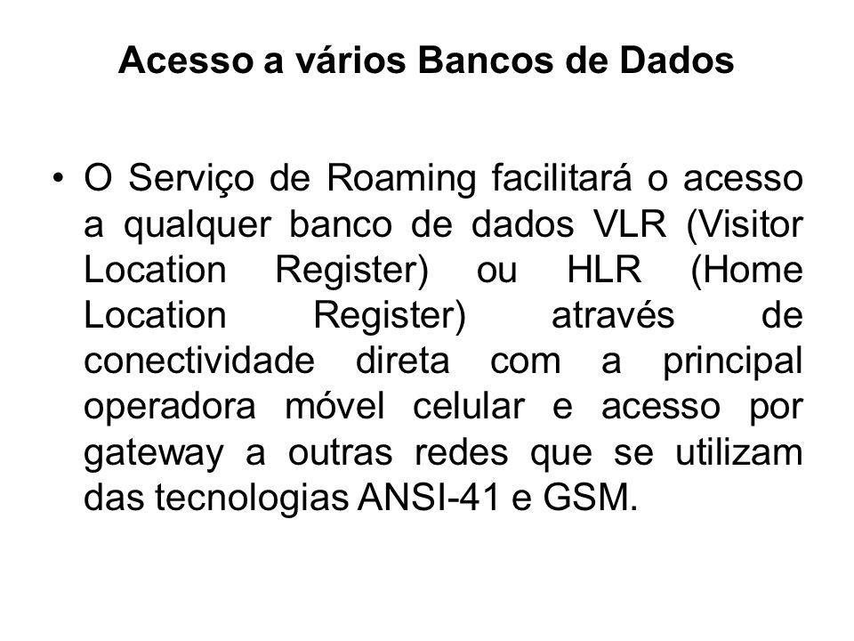 Acesso a vários Bancos de Dados O Serviço de Roaming facilitará o acesso a qualquer banco de dados VLR (Visitor Location Register) ou HLR (Home Locati