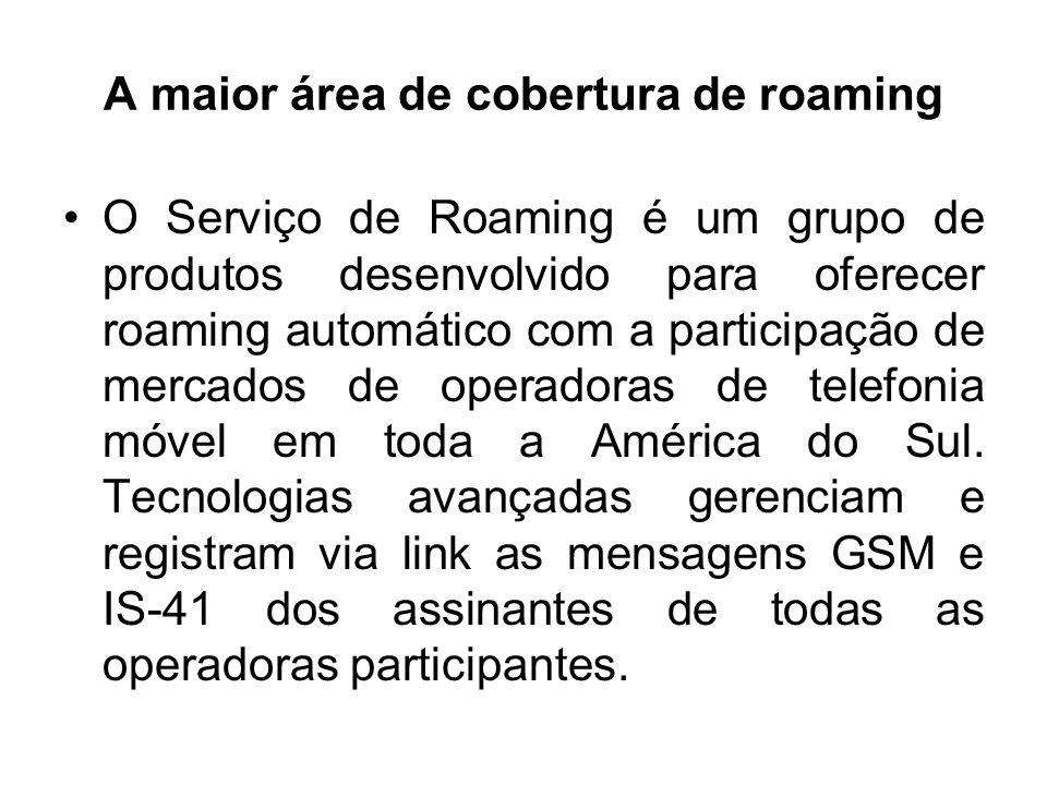 A maior área de cobertura de roaming O Serviço de Roaming é um grupo de produtos desenvolvido para oferecer roaming automático com a participação de m