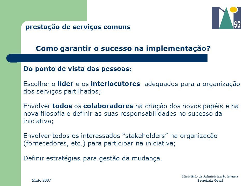 Do ponto de vista das pessoas: Escolher o líder e os interlocutores adequados para a organização dos serviços partilhados; Envolver todos os colaborad