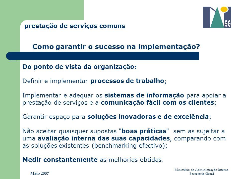 Ministério da Administração Interna Secretaria-Geral Maio 2007 Como garantir o sucesso na implementação? Do ponto de vista da organização: Definir e i