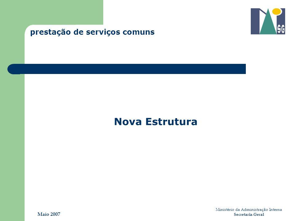 Ministério da Administração Interna Secretaria-Geral Maio 2007 Nova Estrutura prestação de serviços comuns