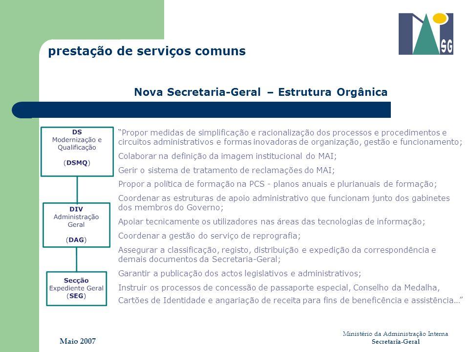 Ministério da Administração Interna Secretaria-Geral Maio 2007 prestação de serviços comuns Nova Secretaria-Geral – Estrutura Orgânica Propor medidas