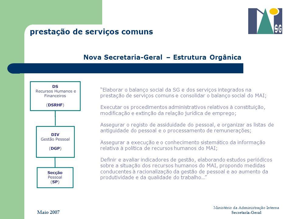 Ministério da Administração Interna Secretaria-Geral Maio 2007 prestação de serviços comuns Nova Secretaria-Geral – Estrutura Orgânica Elaborar o bala
