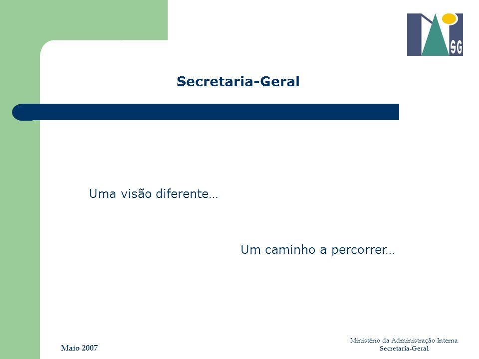 Ministério da Administração Interna Secretaria-Geral Maio 2007 Uma visão diferente… Um caminho a percorrer… Secretaria-Geral