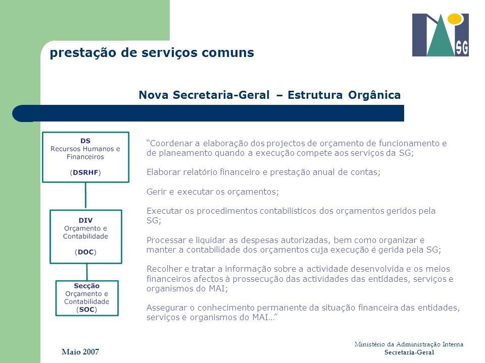 Ministério da Administração Interna Secretaria-Geral Maio 2007 prestação de serviços comuns Nova Secretaria-Geral – Estrutura Orgânica Coordenar a ela