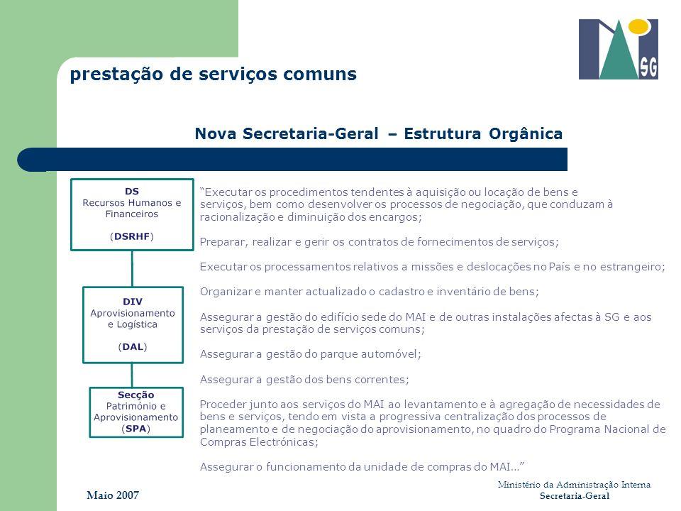 Ministério da Administração Interna Secretaria-Geral Maio 2007 prestação de serviços comuns Nova Secretaria-Geral – Estrutura Orgânica Executar os pro