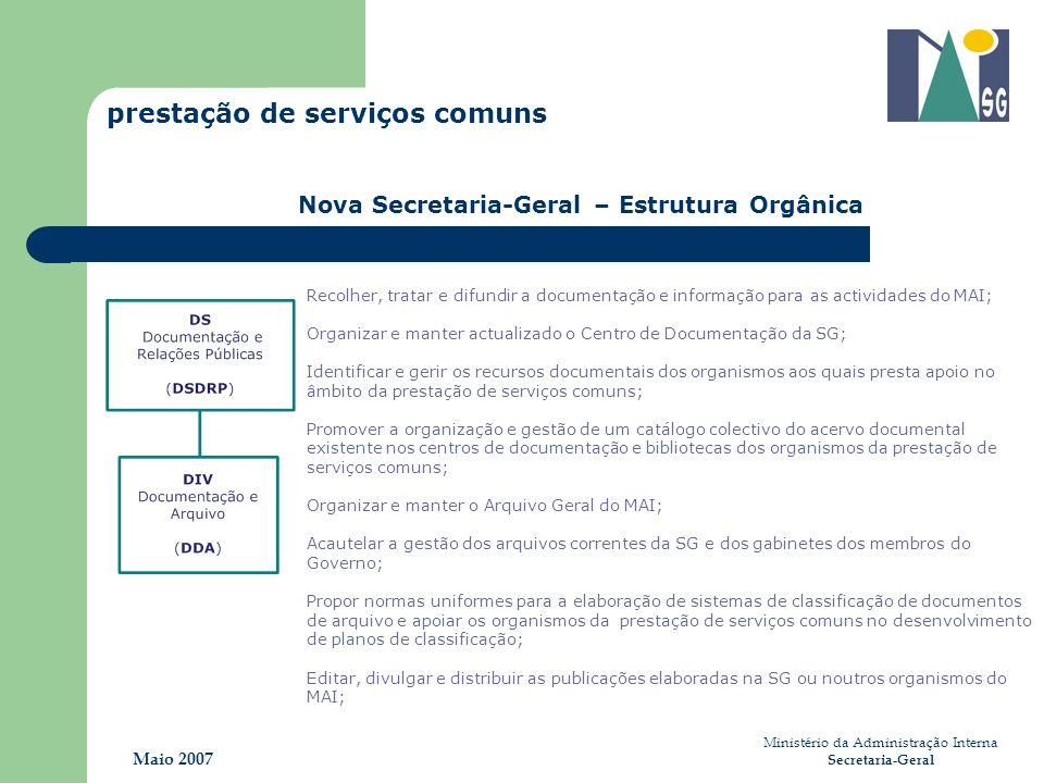 Ministério da Administração Interna Secretaria-Geral Maio 2007 prestação de serviços comuns Nova Secretaria-Geral – Estrutura Orgânica Recolher, trata