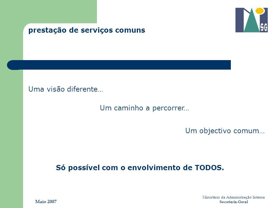Ministério da Administração Interna Secretaria-Geral Maio 2007 Um objectivo comum… Só possível com o envolvimento de TODOS. prestação de serviços comu