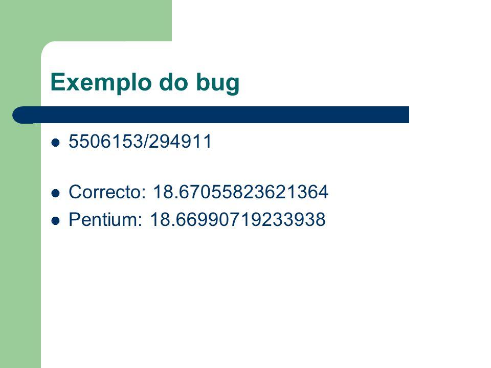 Exemplo do bug 5506153/294911 Correcto: 18.67055823621364 Pentium: 18.66990719233938