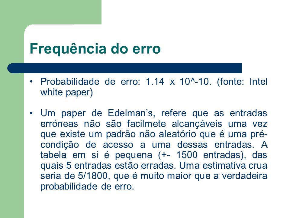 Frequência do erro Probabilidade de erro: 1.14 x 10^-10. (fonte: Intel white paper) Um paper de Edelmans, refere que as entradas erróneas não são faci