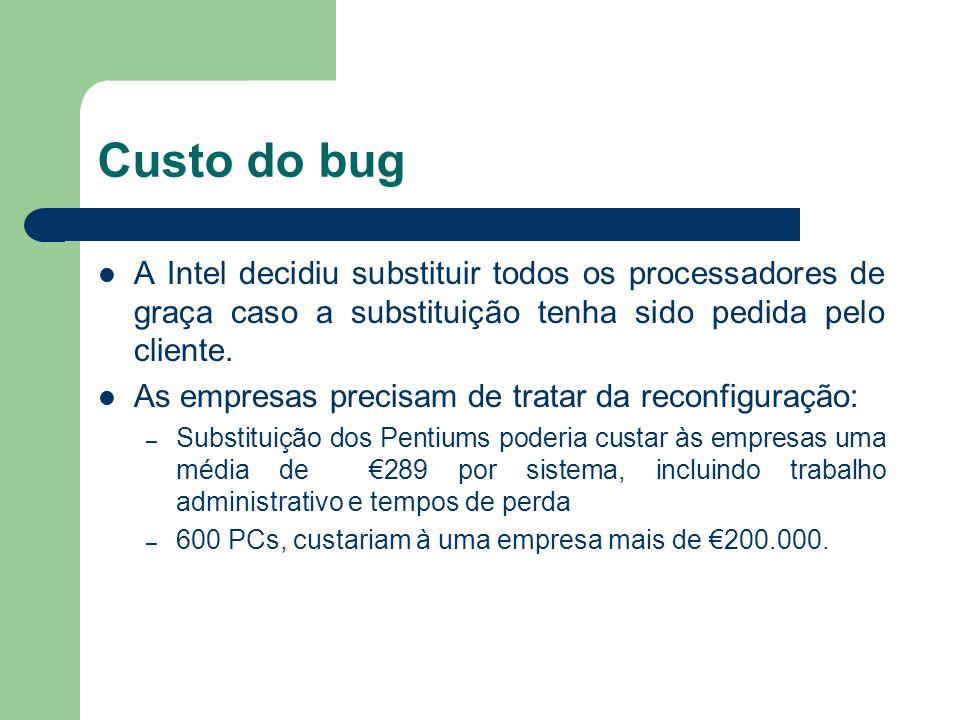 Custo do bug A Intel decidiu substituir todos os processadores de graça caso a substituição tenha sido pedida pelo cliente. As empresas precisam de tr
