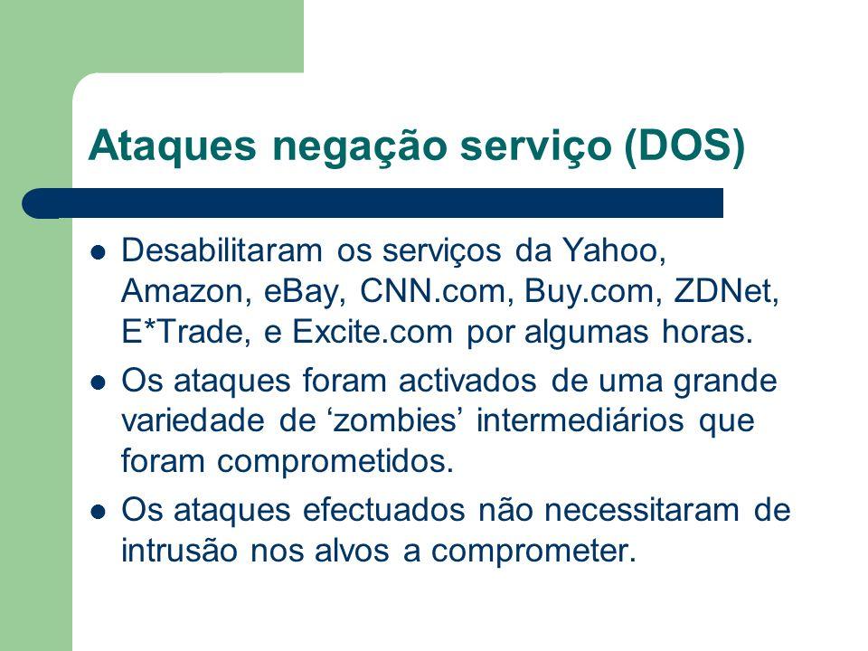 Ataques negação serviço (DOS) Desabilitaram os serviços da Yahoo, Amazon, eBay, CNN.com, Buy.com, ZDNet, E*Trade, e Excite.com por algumas horas. Os a