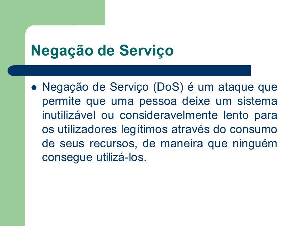 Negação de Serviço Negação de Serviço (DoS) é um ataque que permite que uma pessoa deixe um sistema inutilizável ou consideravelmente lento para os ut