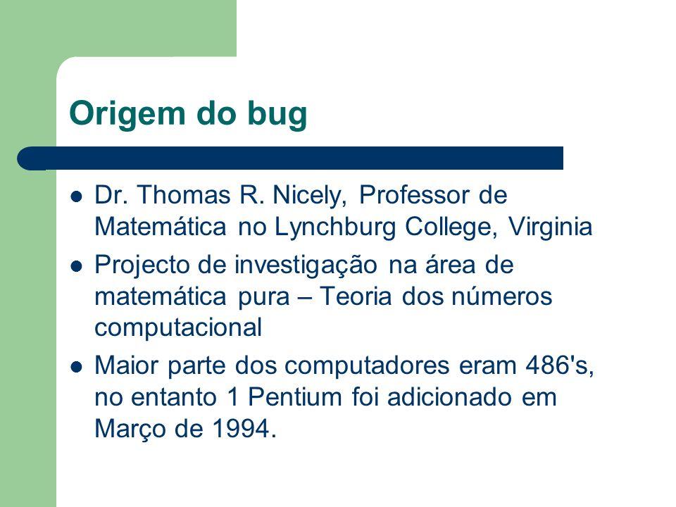 Origem do bug Dr. Thomas R. Nicely, Professor de Matemática no Lynchburg College, Virginia Projecto de investigação na área de matemática pura – Teori