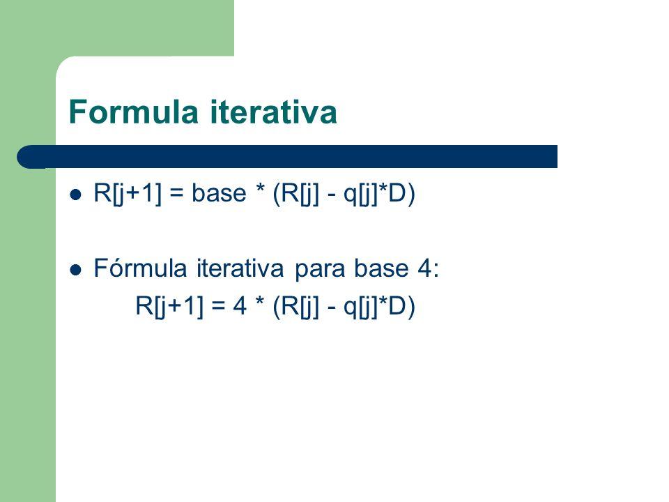 Formula iterativa R[j+1] = base * (R[j] - q[j]*D) Fórmula iterativa para base 4: R[j+1] = 4 * (R[j] - q[j]*D)