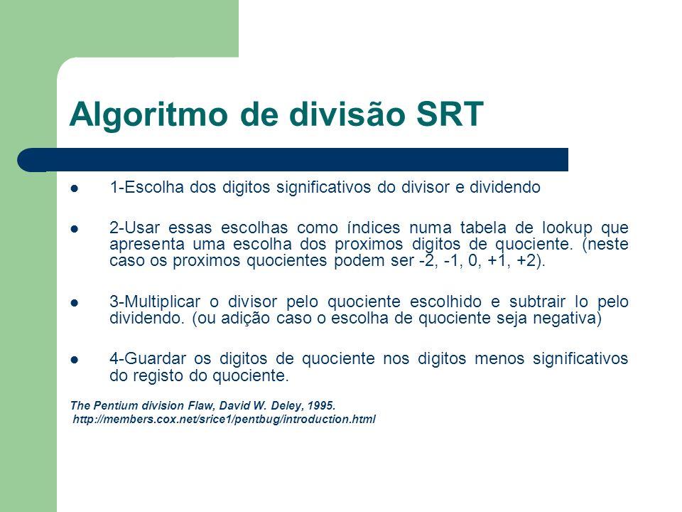 Algoritmo de divisão SRT 1-Escolha dos digitos significativos do divisor e dividendo 2-Usar essas escolhas como índices numa tabela de lookup que apresenta uma escolha dos proximos digitos de quociente.