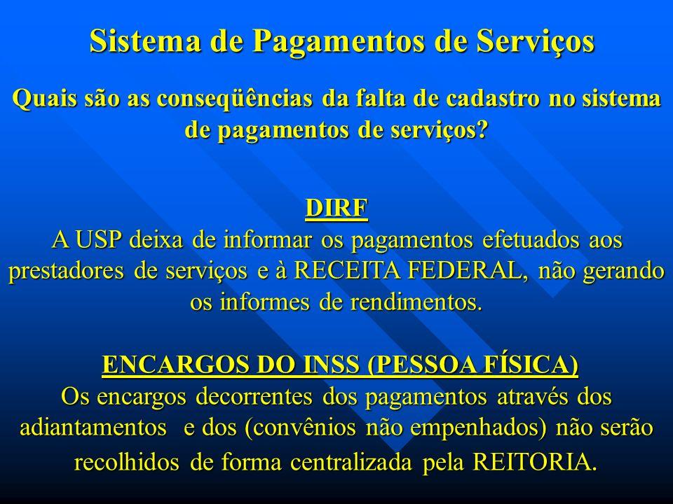 Quais são as conseqüências da falta de cadastro no sistema de pagamentos de serviços.