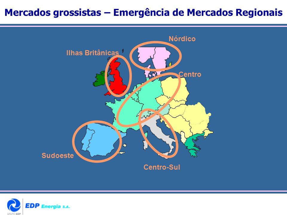 Centro-Sul Sudoeste Nórdico Ilhas Britânicas Centro Mercados grossistas – Emergência de Mercados Regionais