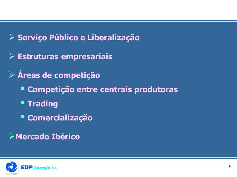Serviço Público e Liberalização Estruturas empresariais Áreas de competição Competição entre centrais produtoras Trading Comercialização Mercado Ibéri