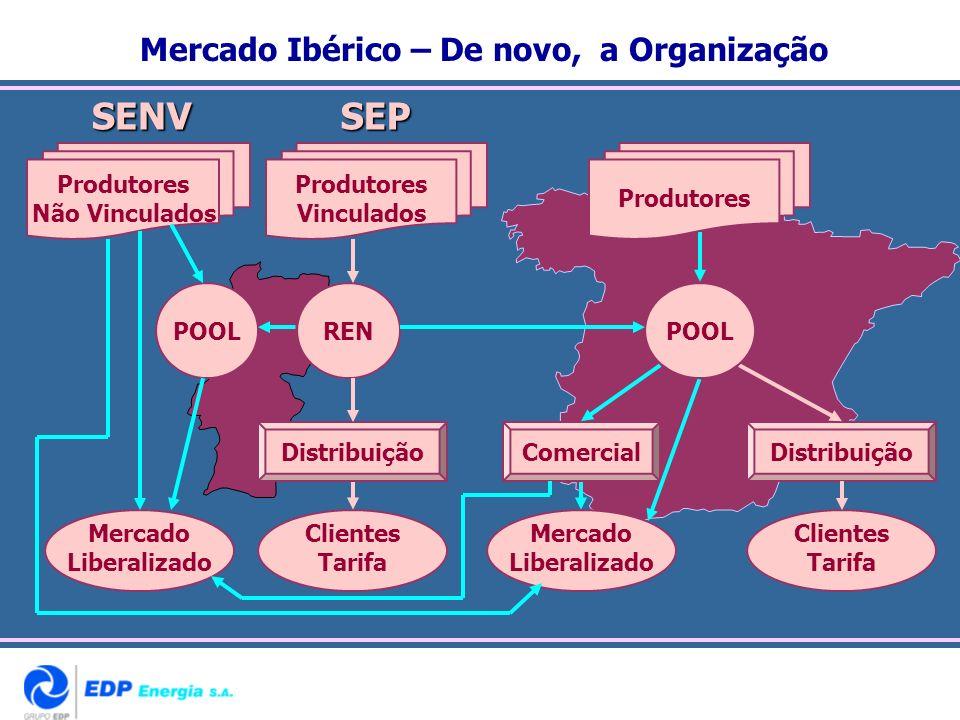 Mercado Ibérico – De novo, a OrganizaçãoSENVSEP DistribuiçãoComercialDistribuição Clientes Tarifa POOLREN Mercado Liberalizado Clientes Tarifa Mercado