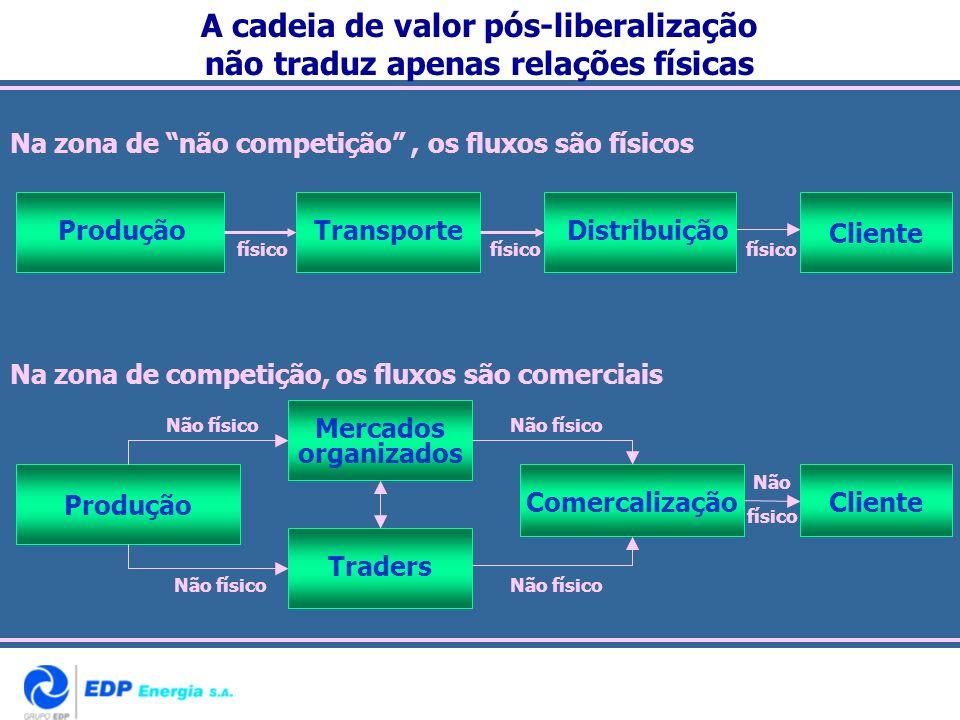 Na zona de não competição, os fluxos são físicos TransporteDistribuição Cliente Produção Mercados organizados ComercalizaçãoCliente Produção Traders N