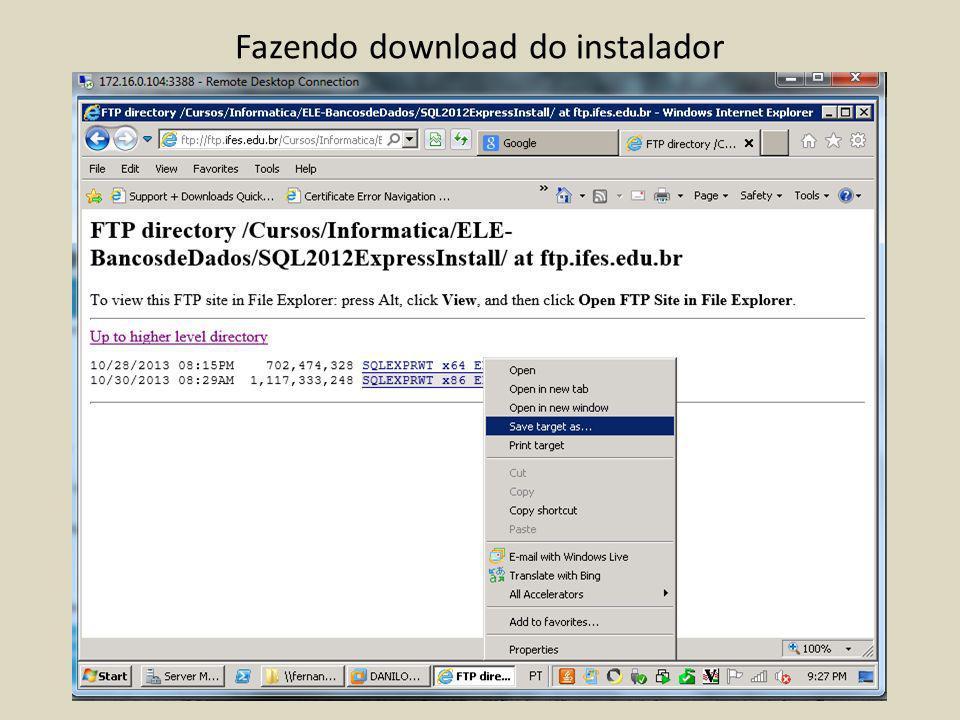 Fazendo download do instalador