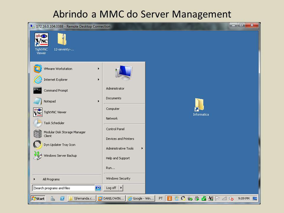 Abrindo a MMC do Server Management