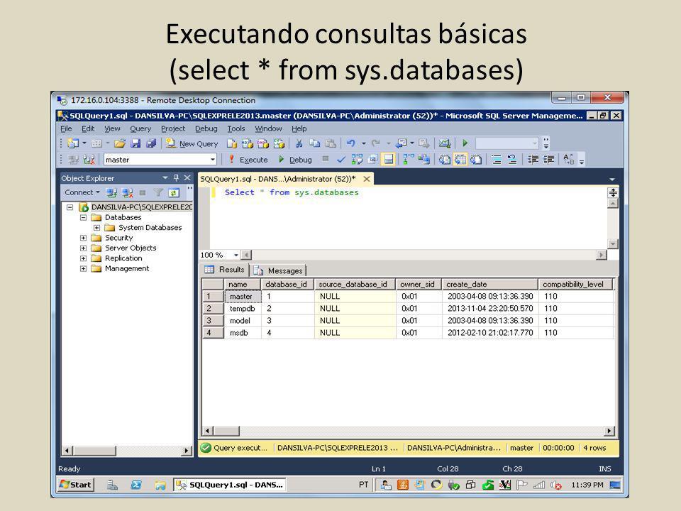 Executando consultas básicas (select * from sys.databases)