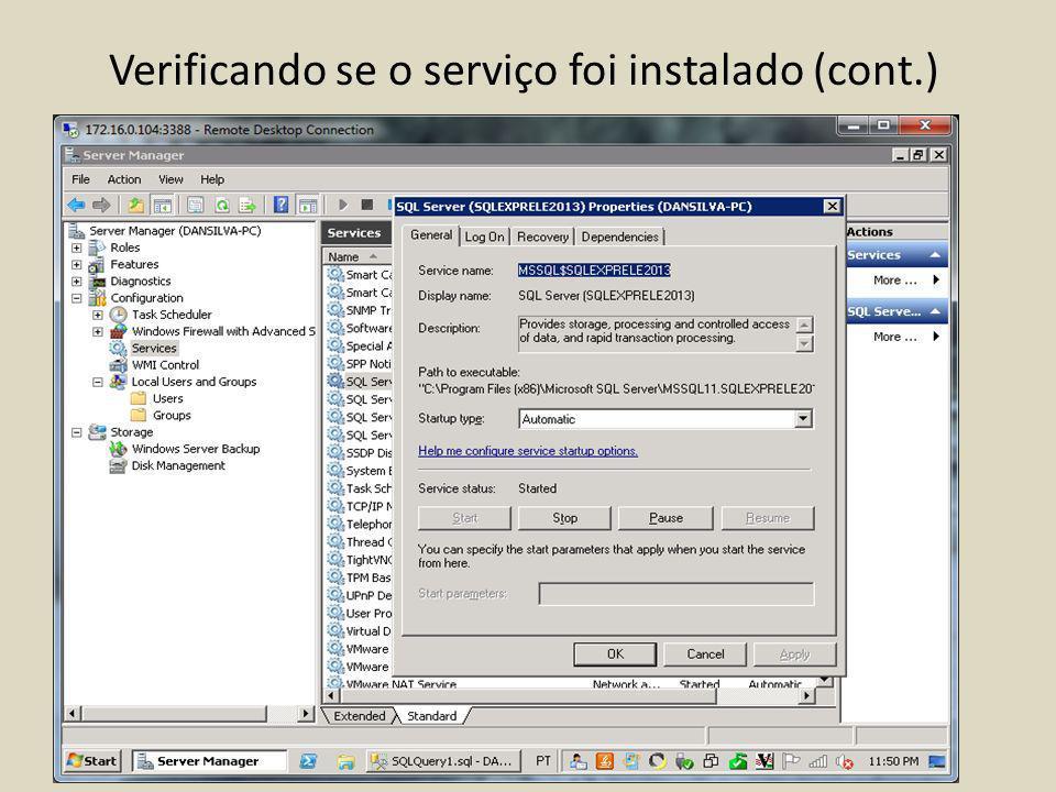Verificando se o serviço foi instalado (cont.)