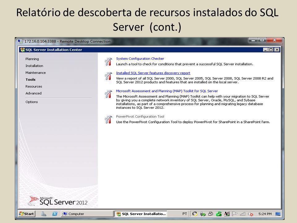 Relatório de descoberta de recursos instalados do SQL Server (cont.)
