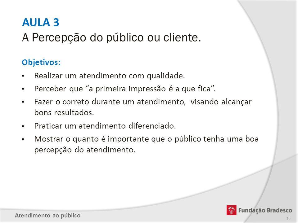 AULA 3 A Percepção do público ou cliente. Objetivos: Realizar um atendimento com qualidade. Perceber que a primeira impressão é a que fica. Fazer o co