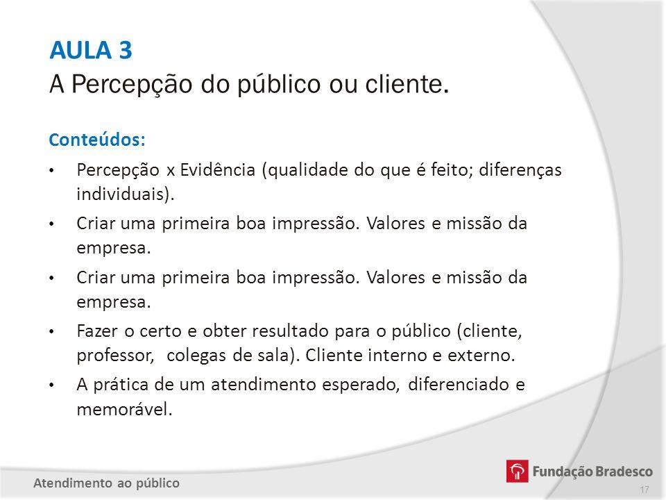 AULA 3 A Percepção do público ou cliente. Conteúdos: Percepção x Evidência (qualidade do que é feito; diferenças individuais). Criar uma primeira boa