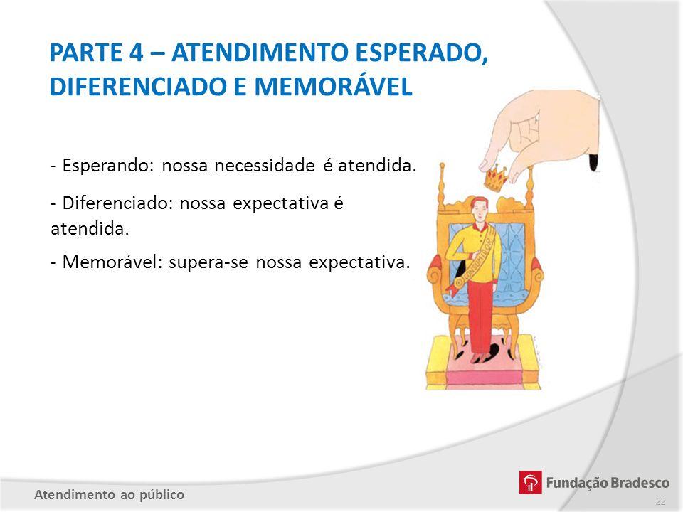 PARTE 4 – ATENDIMENTO ESPERADO, DIFERENCIADO E MEMORÁVEL - Esperando: nossa necessidade é atendida. - Diferenciado: nossa expectativa é atendida. - Me