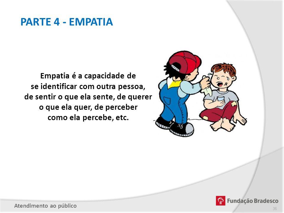 PARTE 4 - EMPATIA Empatia é a capacidade de se identificar com outra pessoa, de sentir o que ela sente, de querer o que ela quer, de perceber como ela