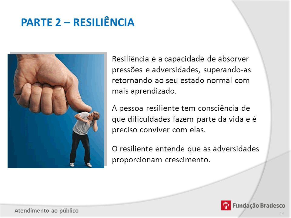 PARTE 2 – RESILIÊNCIA Resiliência é a capacidade de absorver pressões e adversidades, superando-as retornando ao seu estado normal com mais aprendizad